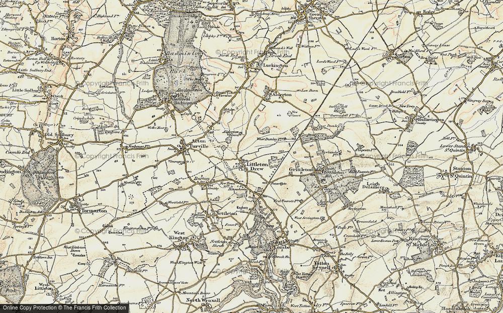 Old Map of Littleton Drew, 1898-1899 in 1898-1899