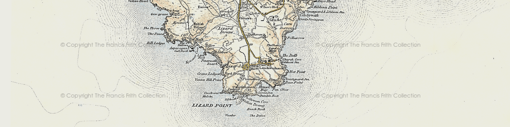 Old map of Lizard in 1900