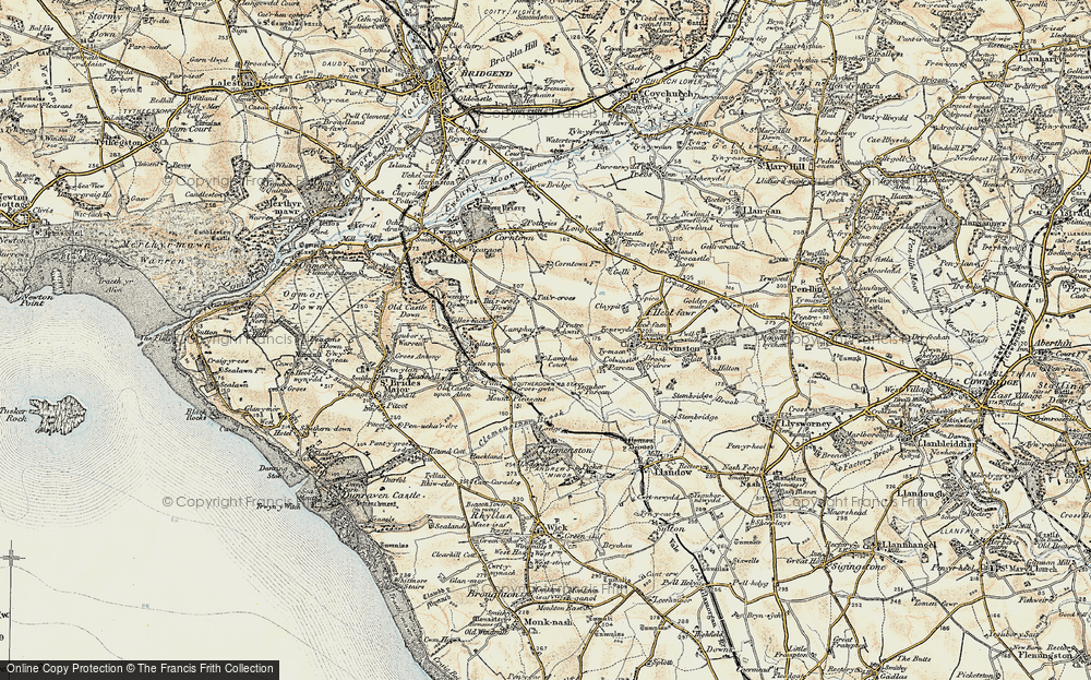 Old Map of Historic Map covering Afon Alun in 1899-1900