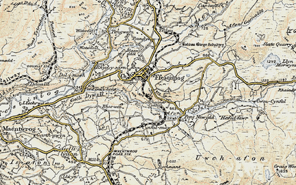 Old map of Llan Ffestiniog in 1903