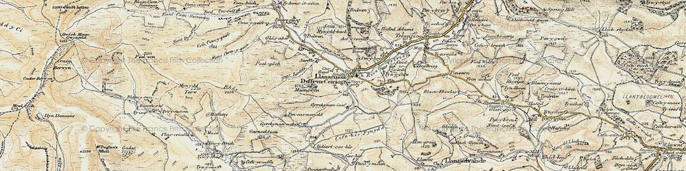 Old map of Llanarmon Dyffryn Ceiriog in 1902-1903