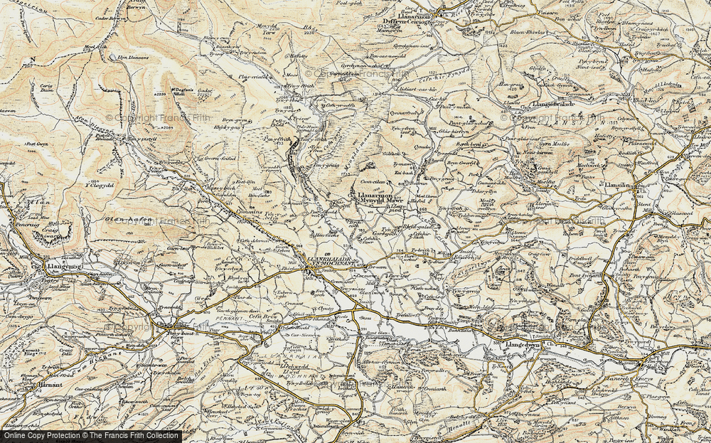 Old Map of Historic Map covering Afon lwrch in 1902-1903