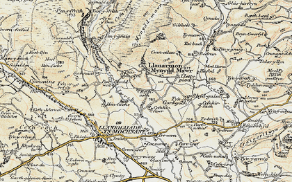 Old map of Afon lwrch in 1902-1903