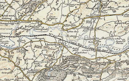 Old map of Llanarthne in 1900-1901