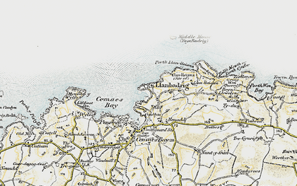 Old map of Llanbadrig in 1903-1910