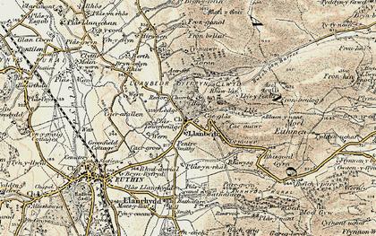 Old map of Llanbedr-Dyffryn-Clwyd in 1902-1903