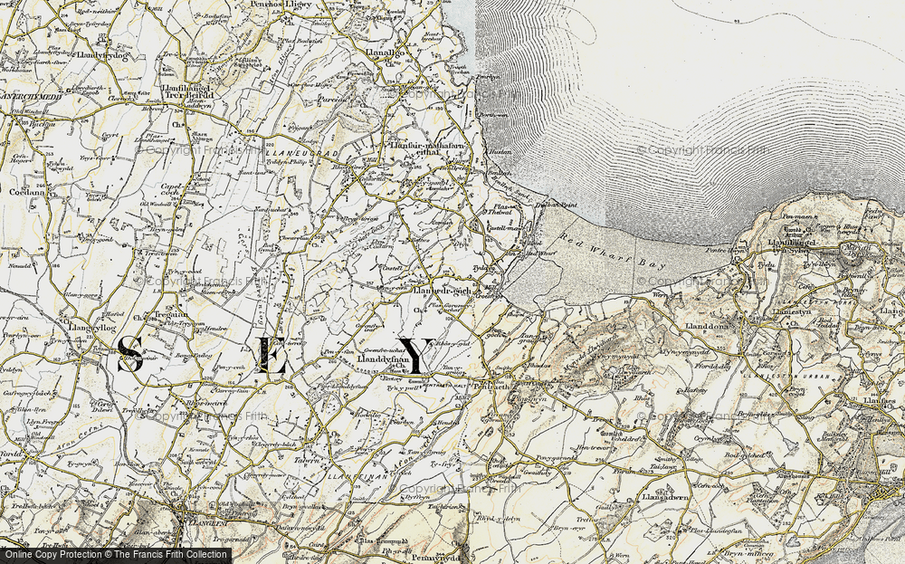 Old Map of Historic Map covering Ynys Isaf in 1903-1910