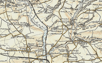 Old map of Llanbethery in 1899-1900
