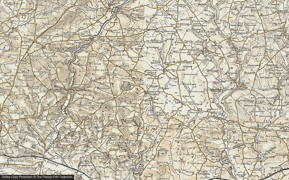 Old Map of Historic Map covering Afon Gronw in 1901