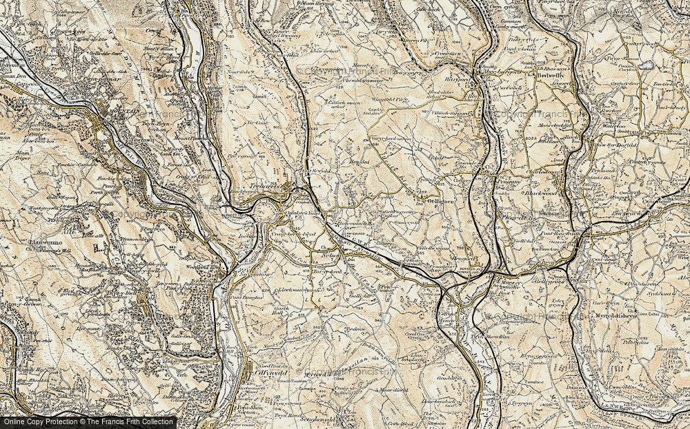 Old Map of Historic Map covering Tir-y-rhen in 1899-1900