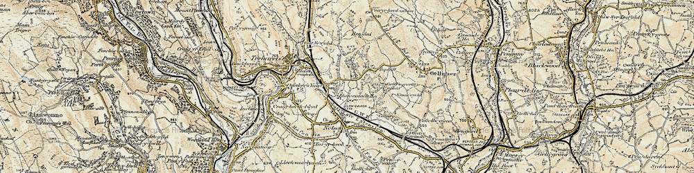 Old map of Tir-y-rhen in 1899-1900