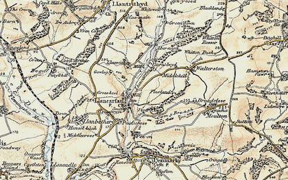 Old map of Llancarfan in 1899-1900