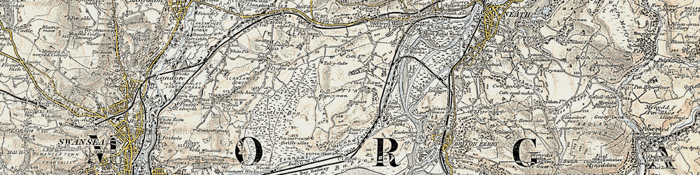 Old map of Llandarcy in 1900-1901