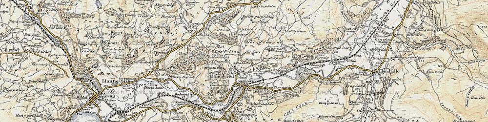 Old map of Llandderfel in 1902-1903