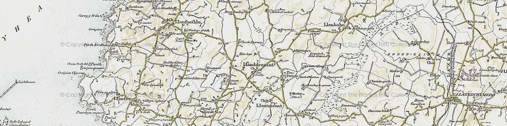 Old map of Llanddeusant in 1903-1910