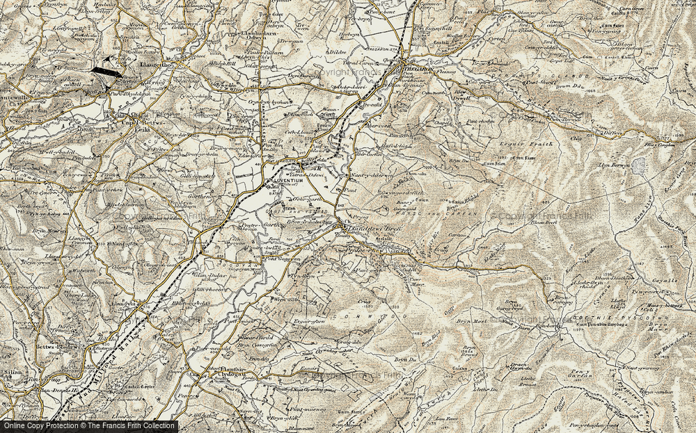 Old Map of Historic Map covering Afon Brefi in 1901-1903