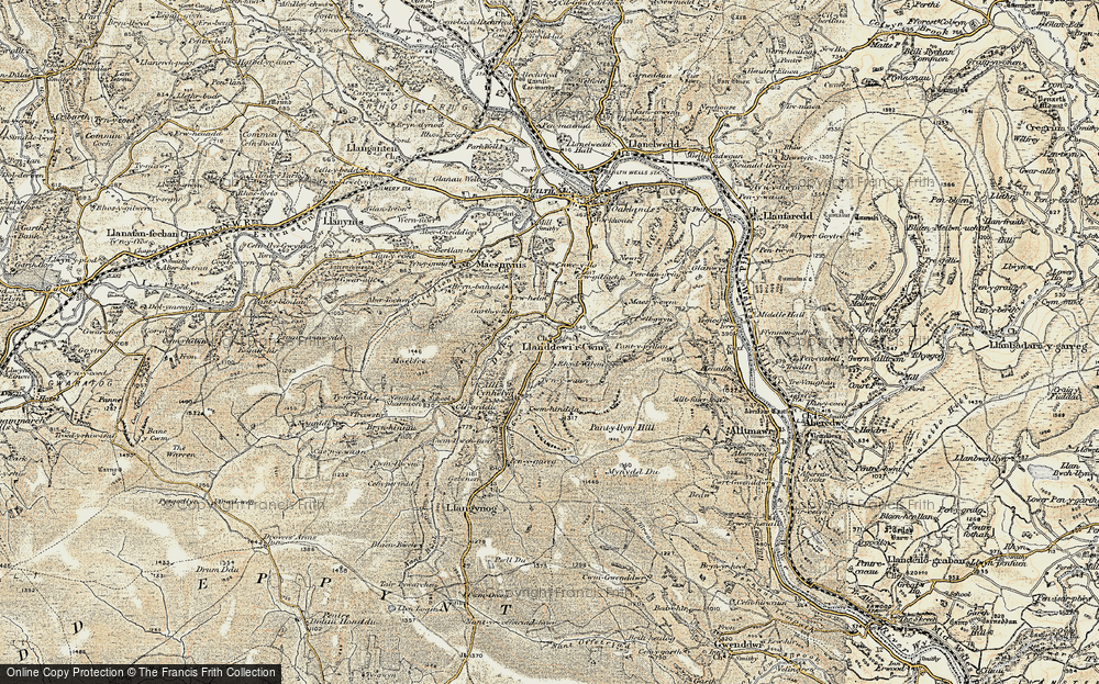 Old Map of Historic Map covering Banc y Celyn in 1900-1902