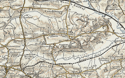 Old map of Llanddewi Velfrey in 1901