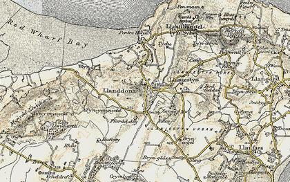 Old map of Llanddona in 1903-1910