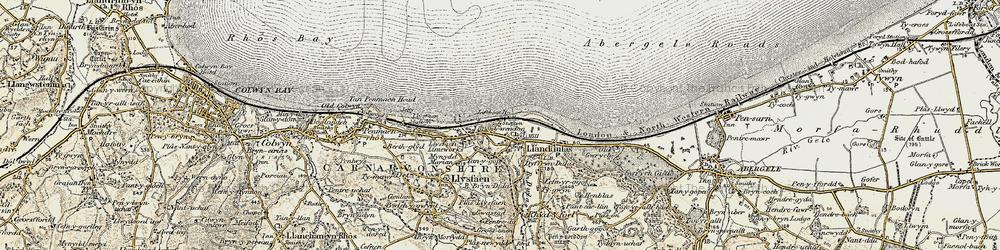 Old map of Llanddulas in 1902-1903