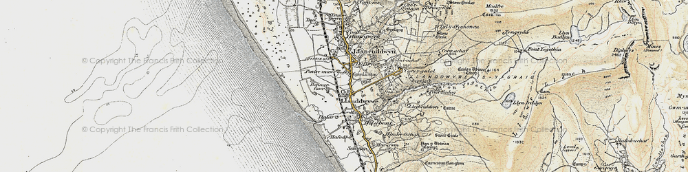 Old map of Llanddwywe in 1902-1903
