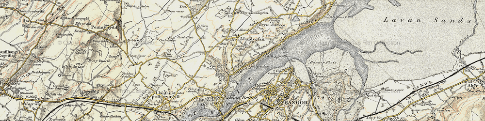 Old map of Ynys Gaint in 1903-1910