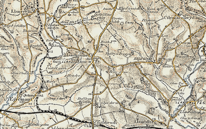 Old map of Afon Rhydybennau in 1901