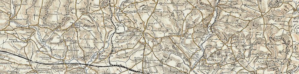Old map of Afon Rhydybennau in 1901