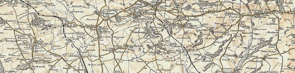 Old map of Llandough in 1899-1900