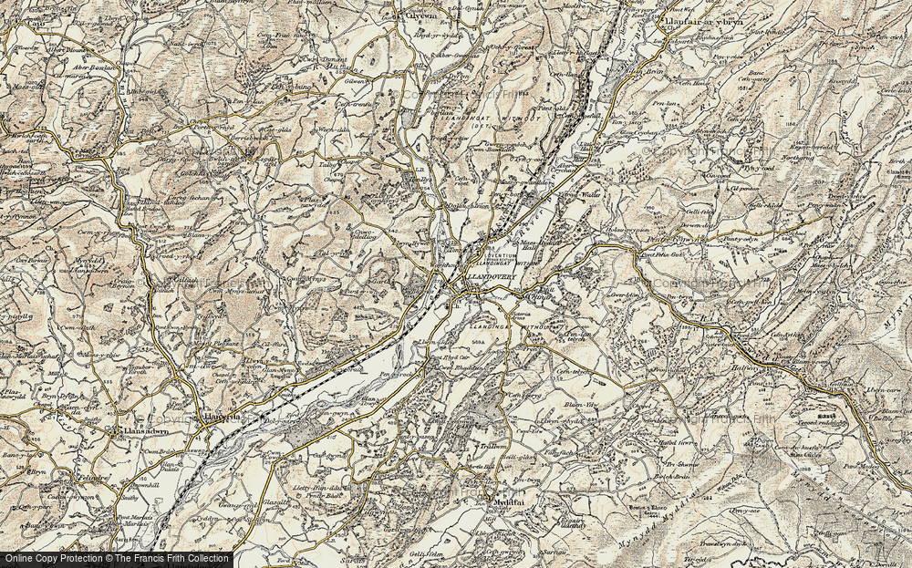 Old Map of Historic Map covering Ystrad in 1900-1902
