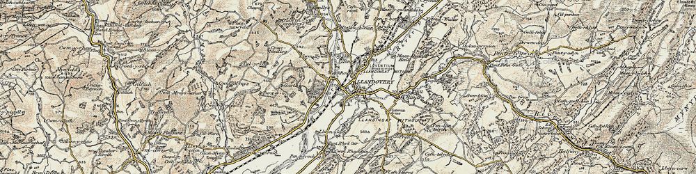 Old map of Llandovery in 1900-1902
