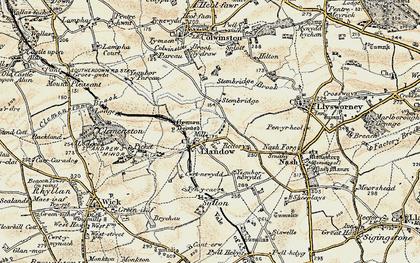 Old map of Llandow in 1899-1900