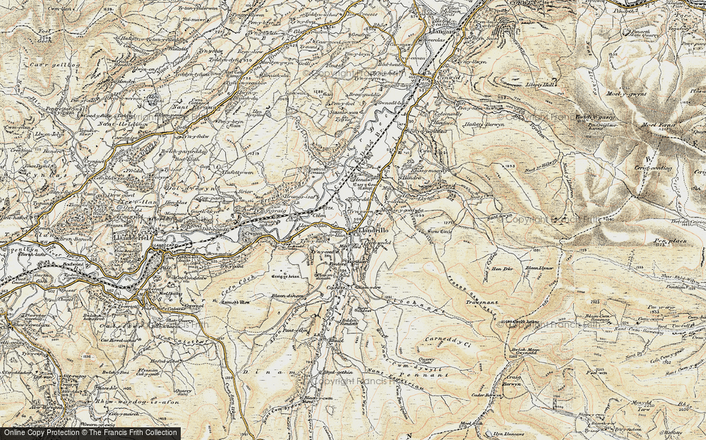 Old Map of Historic Map covering Afon Ceidiog in 1902-1903