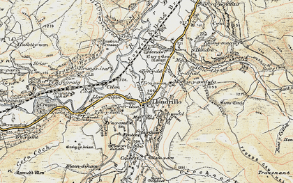Old map of Afon Llynor in 1902-1903