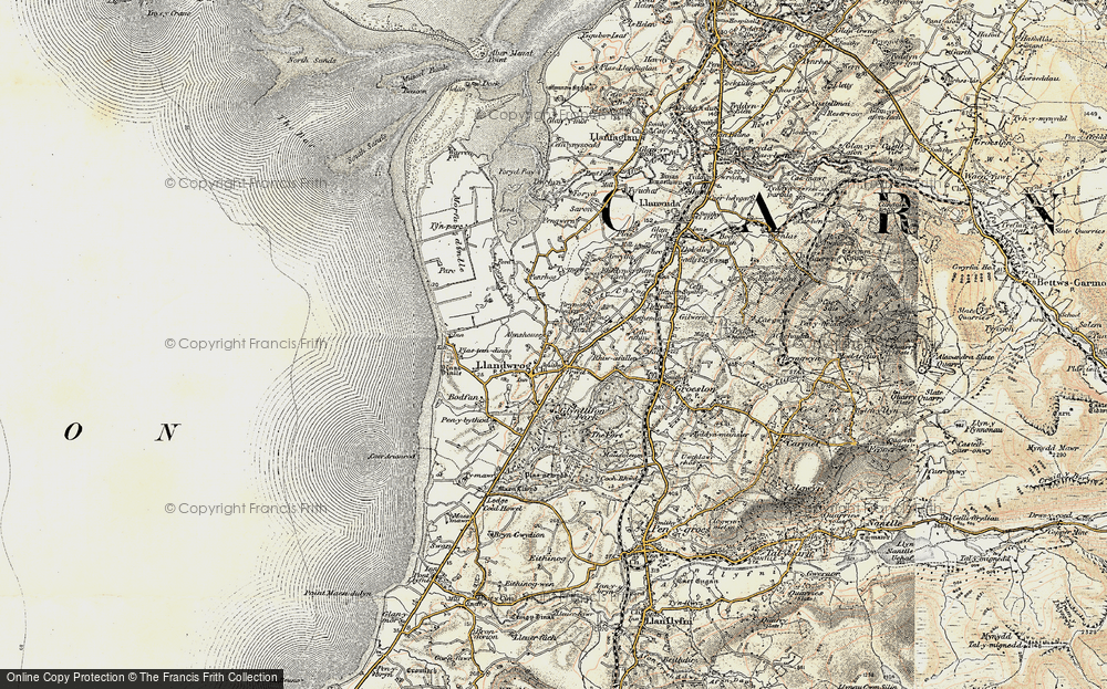 Old Map of Historic Map covering Afon Foryd in 1903-1910