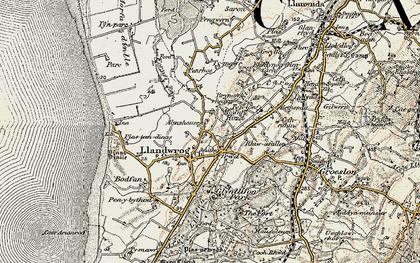 Old map of Llandwrog in 1903-1910