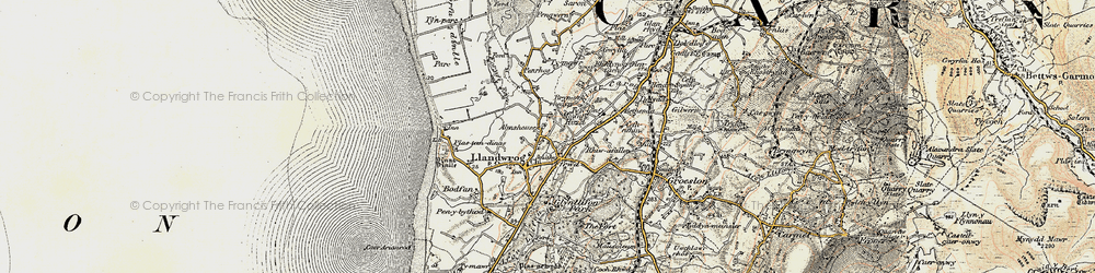 Old map of Afon Foryd in 1903-1910