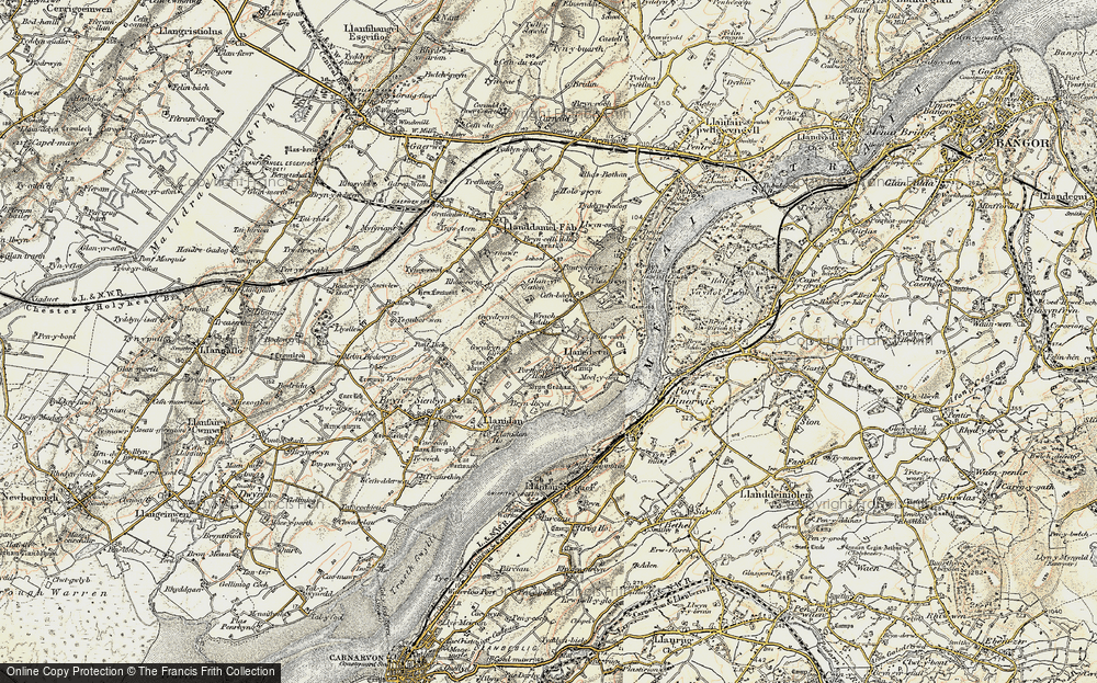 Old Map of Historic Map covering Afon Braint in 1903-1910