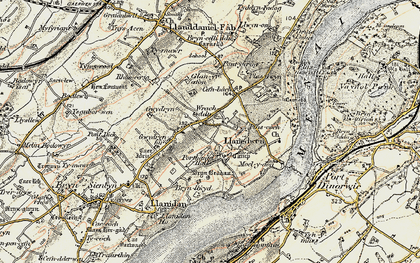 Old map of Afon Braint in 1903-1910