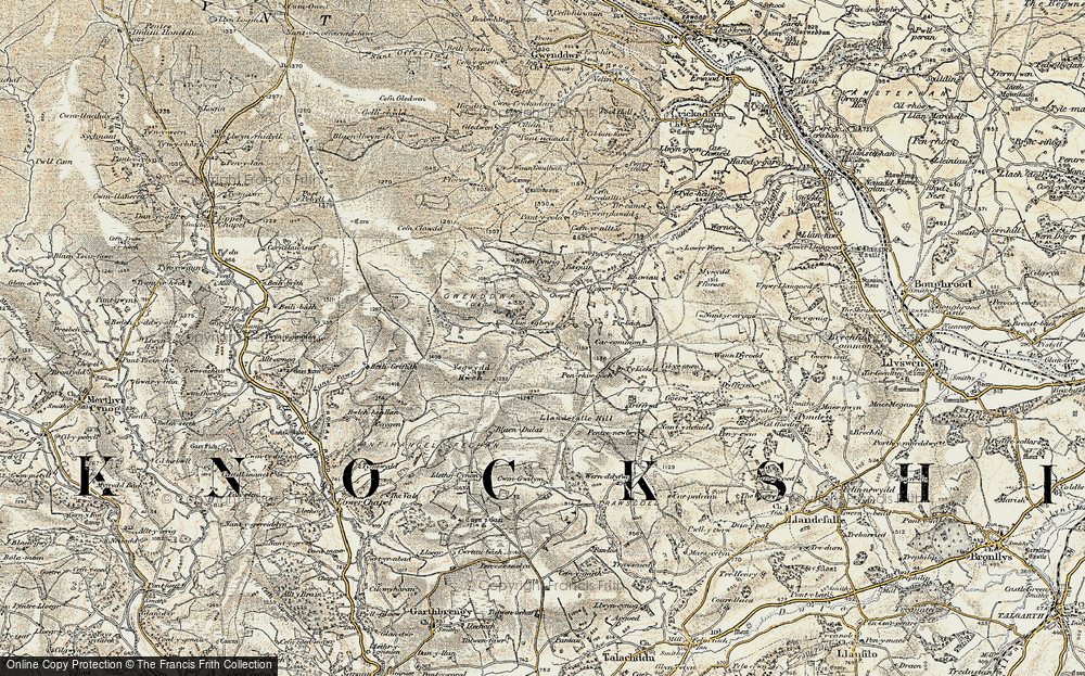 Old Map of Historic Map covering Ysgwydd Hwch in 1900-1902