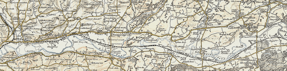 Old map of Afon Cothi in 1900-1901
