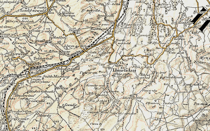 Old map of Llanelidan in 1902-1903