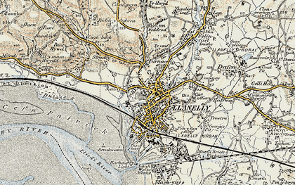 Old map of Llanelli in 1900-1901
