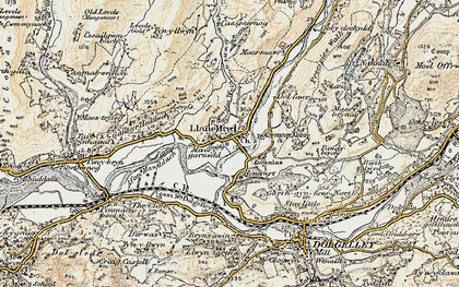 Old map of Afon Wnin in 1902-1903