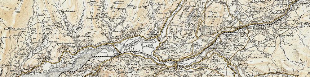 Old map of Afon Wnin in 1902-1903