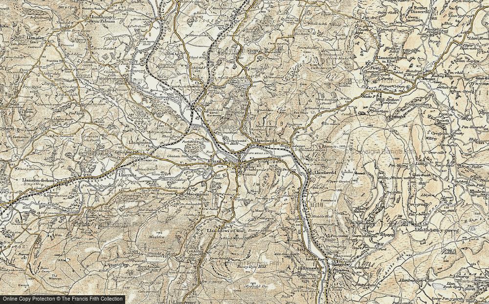 Old Map of Llanelwedd, 1900-1902 in 1900-1902
