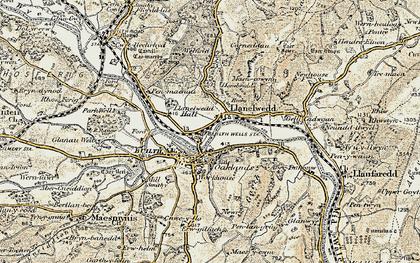 Old map of Llanelwedd in 1900-1902