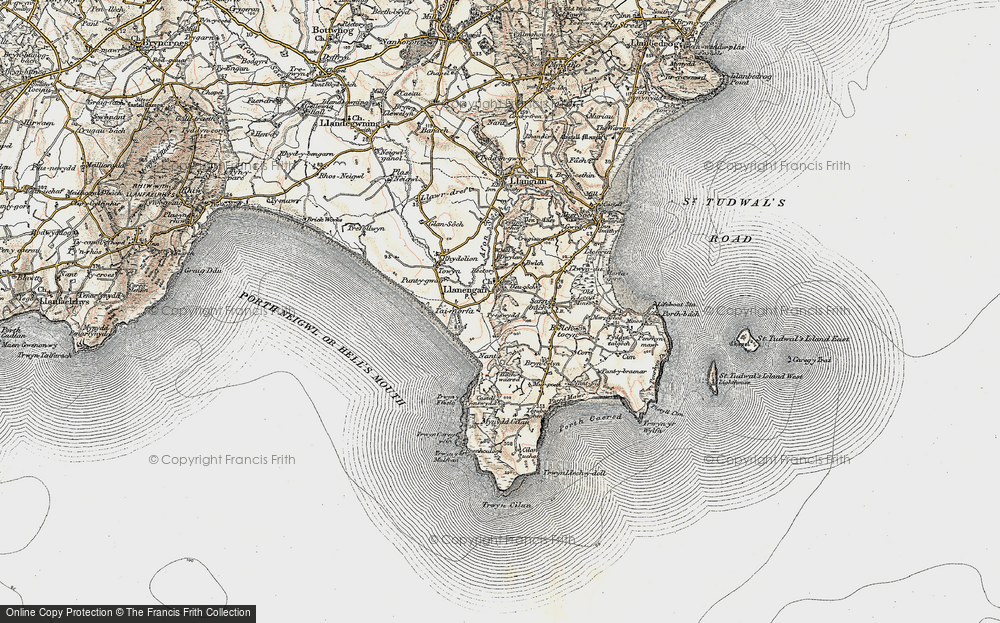 Old Map of Historic Map covering Bachwared in 1903