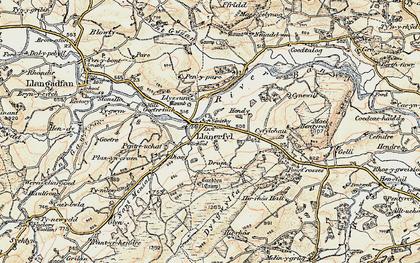 Old map of Llanerfyl in 1902-1903