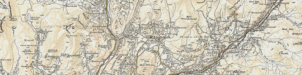 Old map of Afon Lâs or Afon Babi in 1902-1903